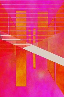 Abstrakte Geometrie pink orange by Christine Bässler