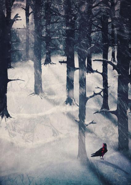 Treesinmoonlightandsnow-c-sybillesterk