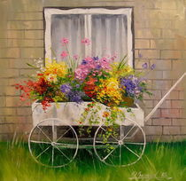 Old wagon with flowers by Olha Darchuk