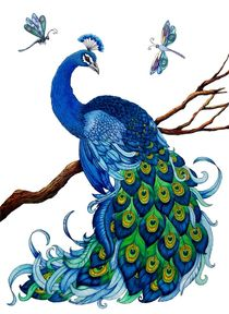 Blue Peacock with Dragonflies von Sandra Gale