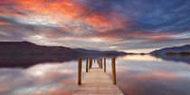 Flooded jetty in Derwent Water, Lake District, England at sunset by Sara Winter