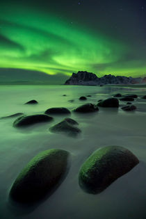 Aurora borealis over a beach on the Lofoten in Norway von Sara Winter