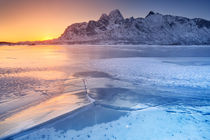 Frozen fjord on the Lofoten in northern Norway by Sara Winter
