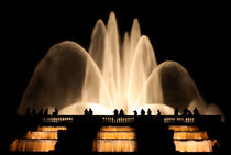 Silhouettes of people against the fountain by Sergey Tsvetkov