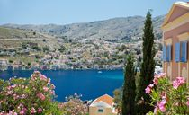 View of the part of the harbour of Symi by Sergey Tsvetkov
