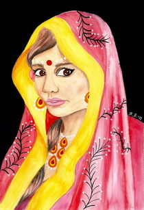 Bengali Princess - India Inspired Watercolor Art by Katri Ketola