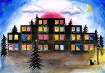 Christmas Windows - Cityscape Watercolor Painting  by Katri Ketola
