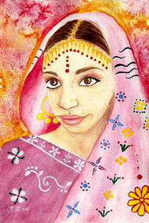 Indian Girl in a Sari- Watercolor Painting by Katri Ketola