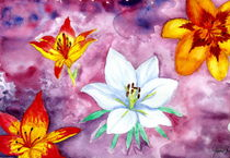 Lily Garden - Watercolor Flower Painting by Katri Ketola