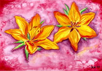 Orange Lily - Watercolor Painting by Katri Ketola