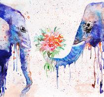 Elephants, watercolor elephants, blue elephants by Luba Ost