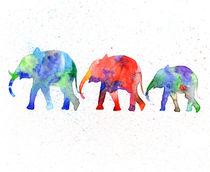 Family elephants, watercolor elephants, blue elephant  von Luba Ost