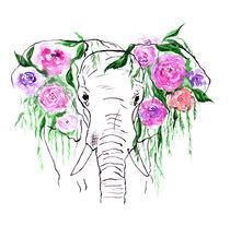 Elephants, watercolor elephant, elephant with flowers by Luba Ost