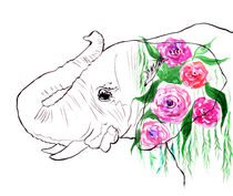 Elephant, watercolor elephant, elephant with roses, pink roses by Luba Ost
