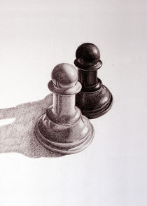 Pencil Drawn Chess Pawns by Boriana Giormova