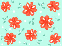 Cheerful Decorative Red Flowers by Boriana Giormova