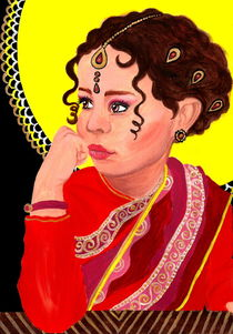 Indian Girl | Acrylic Portrait Painting von Katri Ketola