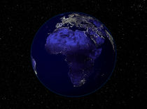 Full Earth at night showing Africa and Europe. by Stocktrek Images