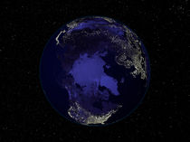 Full Earth at night centered on the North Pole. by Stocktrek Images