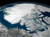 Arctic sea ice above North America by Stocktrek Images