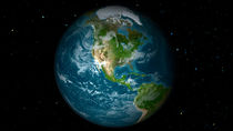 Full Earth view showing North America. by Stocktrek Images