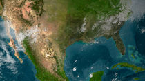 View of Southern United States and Mexico. by Stocktrek Images