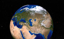 Earth showing the Middle East. by Stocktrek Images