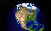 Earth showing North America. by Stocktrek Images