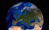 Earth showing Europe. by Stocktrek Images