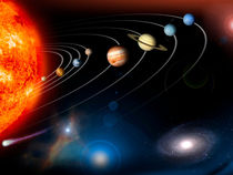 Digitally generated image of our solar system. von Stocktrek Images