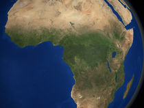 Earth showing landcover over Africa. by Stocktrek Images