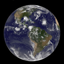 Full Earth showing tropical storms in the Atlantic von Stocktrek Images