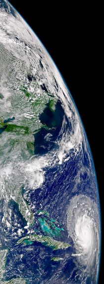 Hurricane Frances on a partial view of Earth. by Stocktrek Images
