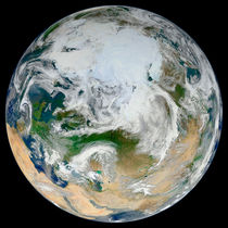 Earth showing the Arctic, Europe and Asia. von Stocktrek Images