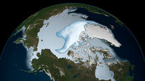 Planet Earth showing sea ice coverage in 2012. von Stocktrek Images