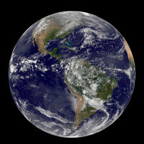 Satellite view of the Americas on Earth Day. by Stocktrek Images