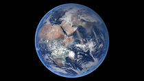 Composite image of the eastern hemisphere on planet Earth. by Stocktrek Images