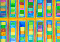 'Striped Color Fields in Orange Grid ' by Heidi  Capitaine