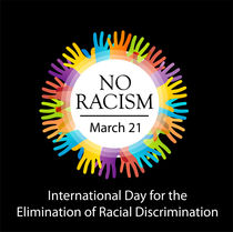No racism graphic with colorful hands  von Shawlin Mohd