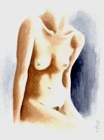 Weiblicher Torso - erotisches Aquarell by Marita Zacharias