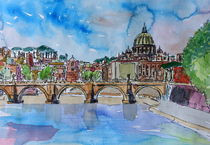 Vatican Rome Italy Sunset On River Tiber With St Peter II by M.  Bleichner