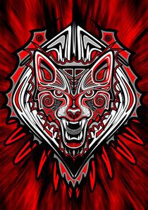 Wolf Tattoo Style Haida Art  by bluedarkart-lem