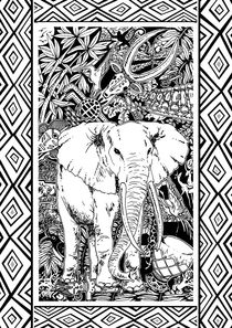 White Elephant Doodle Tribal Art   by bluedarkart-lem