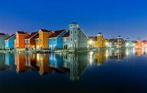 Groningen Jachthafen Panorama Nacht Niederlande Holland by Dennis Stracke