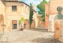 Pueblo Espanol (Mallorca) - Casa Barroca d Lugo - Aquarell by Jens-Uwe Friedrich