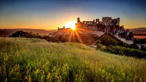Beckov Castle at the sunset by Zoltan Duray