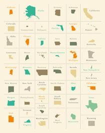 USA all federal states overview colored by Ingo Menhard