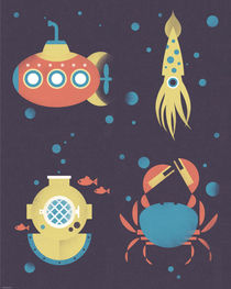 Underwater Submarine Squid Poster