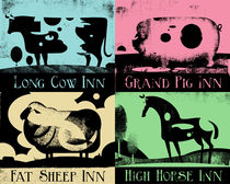 Pop Art Retro Animal Signs