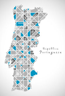 Portugal Map crystal style artwork by Ingo Menhard